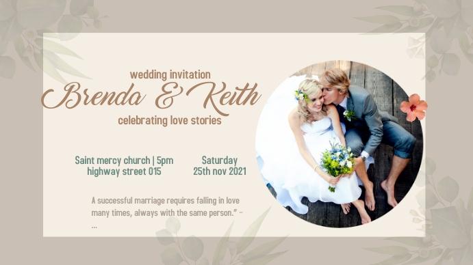 WEDDING INVITATION. FLYER Pantalla Digital (16:9) template