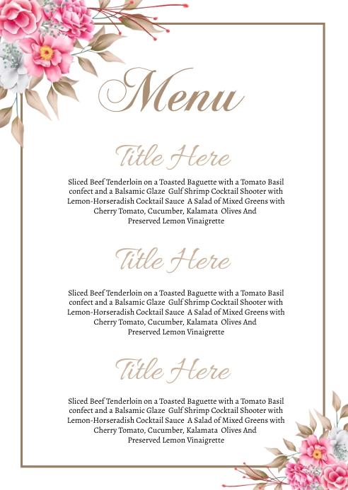 Wedding Menu card A6 template