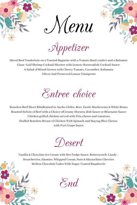 Wedding Menu Card Tatak template
