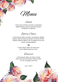 Wedding Menu Card A6 template