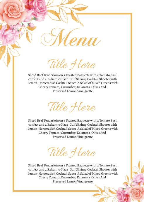 Wedding Menu A6 template