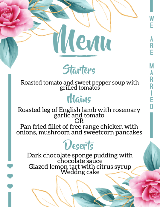 Wedding Menu Poster Løbeseddel (US Letter) template