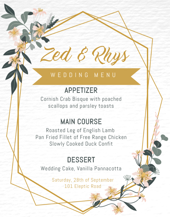 Wedding Menu Template Affiche/Panneau mural