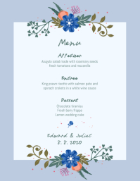 Wedding Menu Template Blue