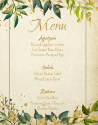 Wedding Menu Template Brown Background