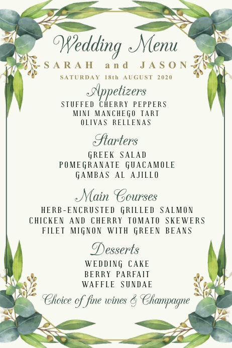 Wedding Menu Template