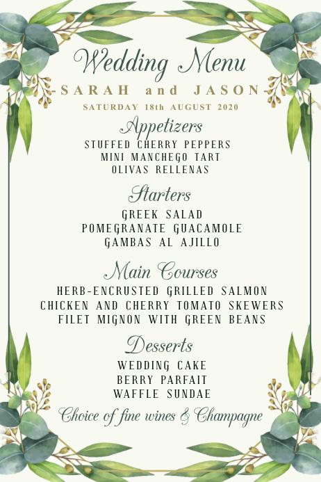 Wedding Menu Template Poster