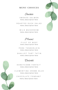 Wedding Menu Template Half Page Wide