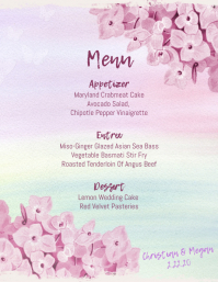 Wedding Menu Template Purple