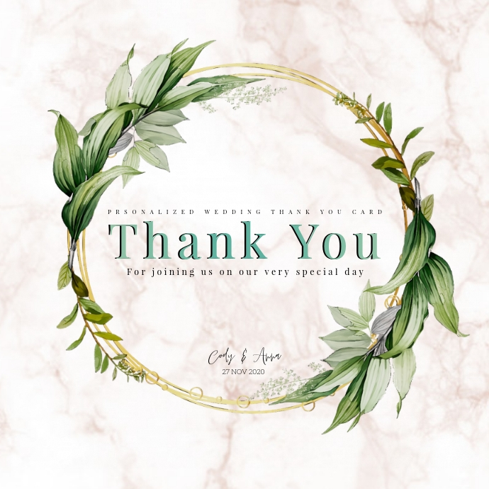 Wedding Party Thank You Card Template Postermywall