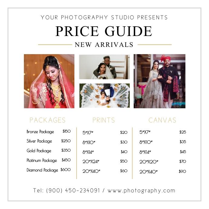 Wedding Photographer Price List Design Instagram na Post template