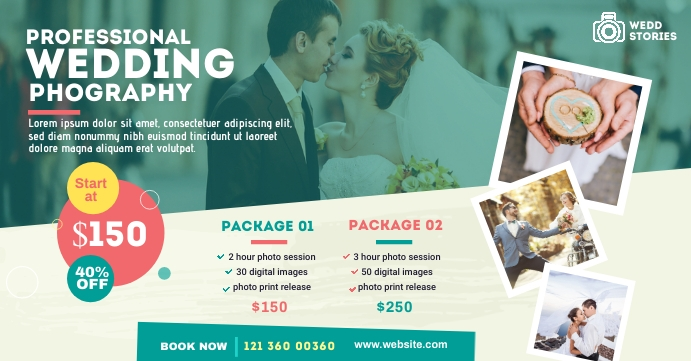 Wedding Photography Ad Sampul Acara Facebook template