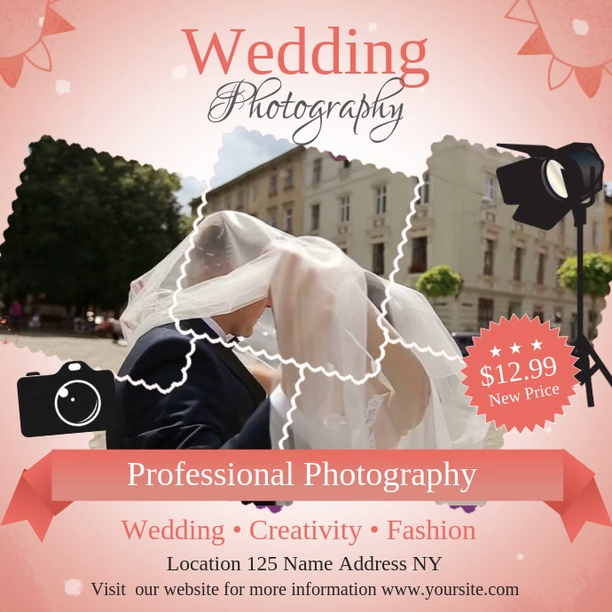 Wedding Photography Ad Square Video Persegi (1:1) template