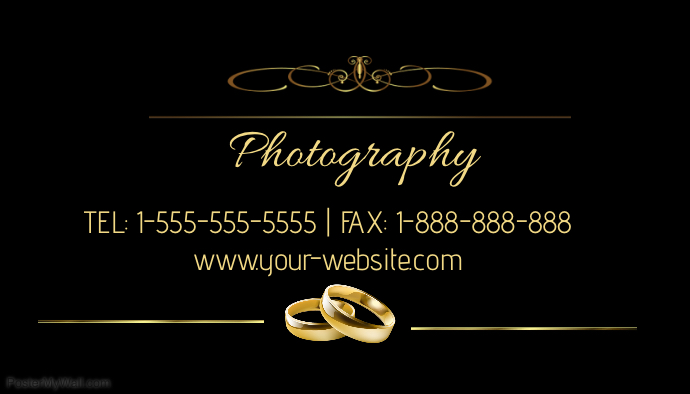 Wedding photography business card template postermywall wedding photography business card customize template flashek Images