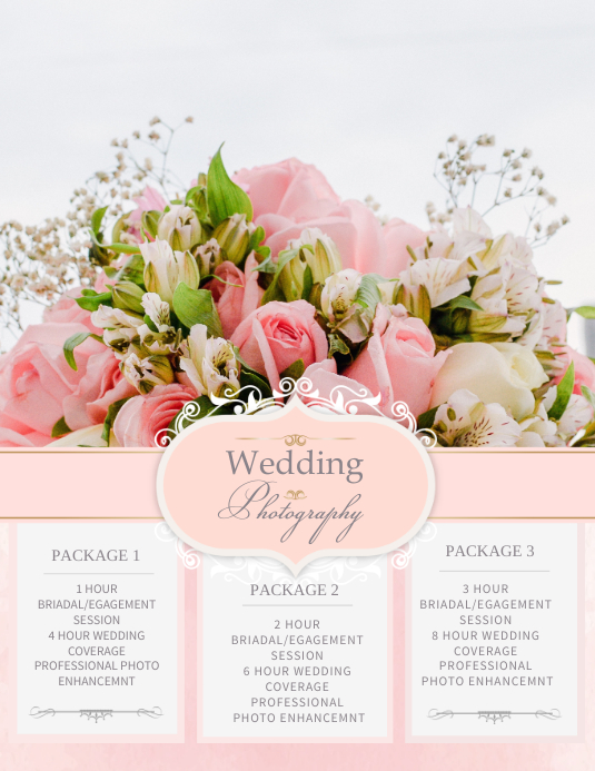 Wedding photography packages flyer template postermywall for Wedding photography packages samples