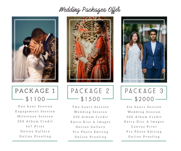 Wedding Photography Packages Price List Retângulo grande template