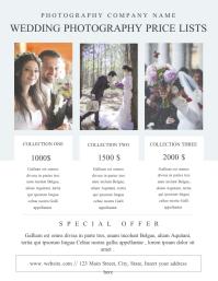 wedding photography price list flyer template 传单(美国信函)
