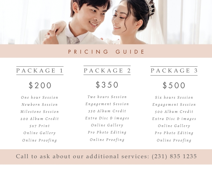Wedding Planning Packages Price List Large Rectangle template