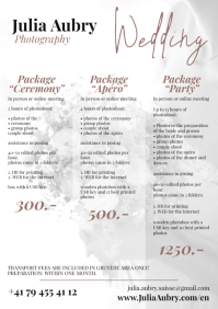 Wedding Prices Photography A4 Price List template