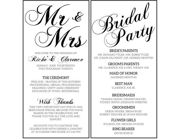 Wedding Program Flyer (US Letter) template