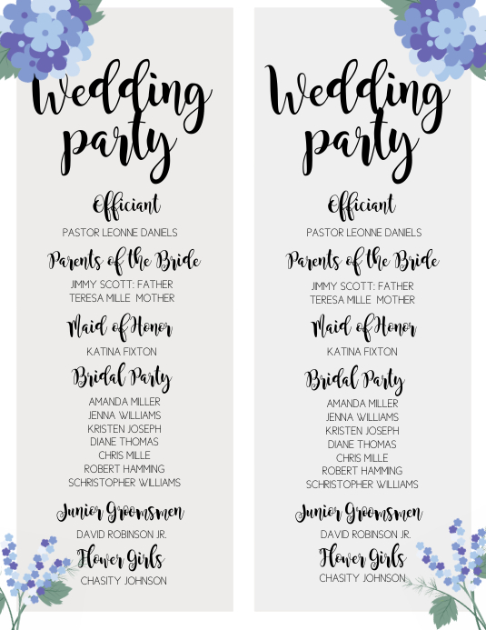 wedding program template postermywall