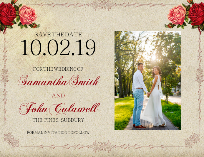 wedding save the date card template postermywall