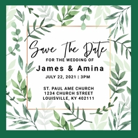Wedding Save The Date โพสต์บน Instagram template