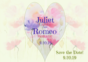 Wedding Save the Date Watercolor Flowers