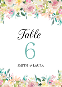 Wedding Table Number A6 template