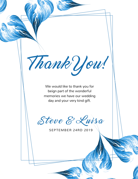 Wedding Thank You Card template