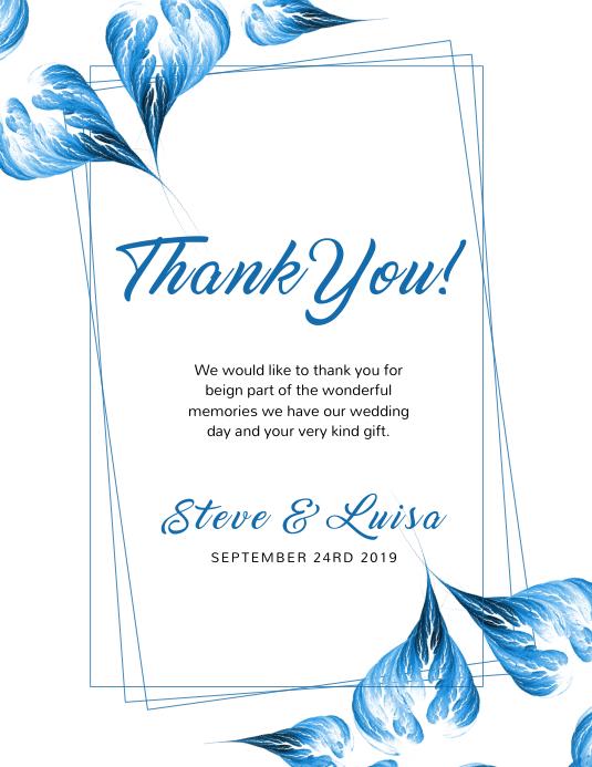 Wedding Thank You Card template Folder (US Letter)