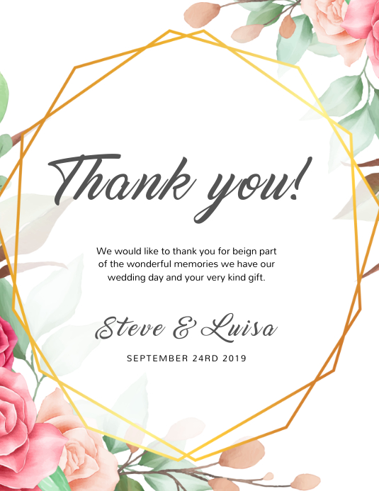 wedding thank you card template | PosterMyWall
