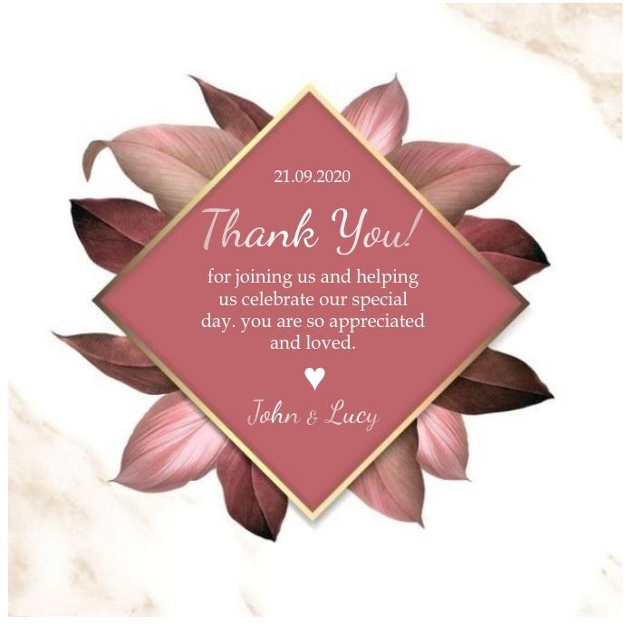 wedding thank you tag card Design Template Kvadrat (1:1)