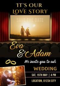 Wedding video invitation A4 template