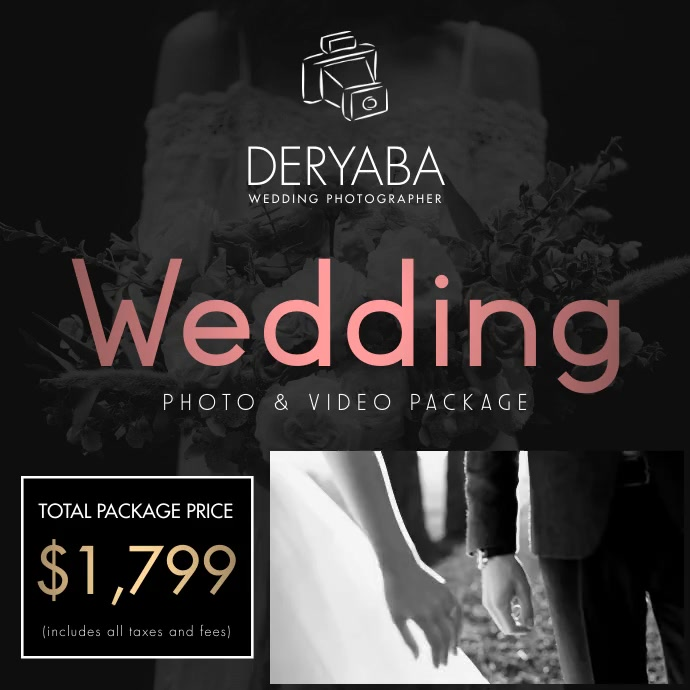 Wedding Video Promo Videographer Photographer Square (1:1) template
