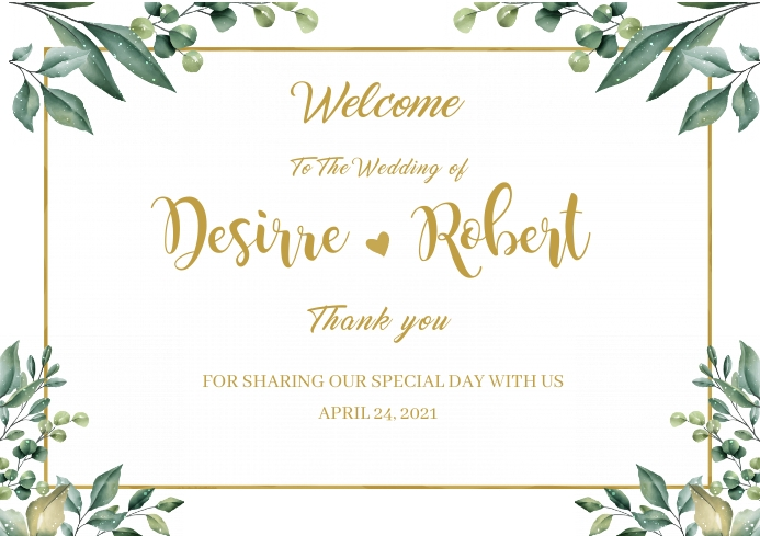 Wedding Welcome Sign A2 template