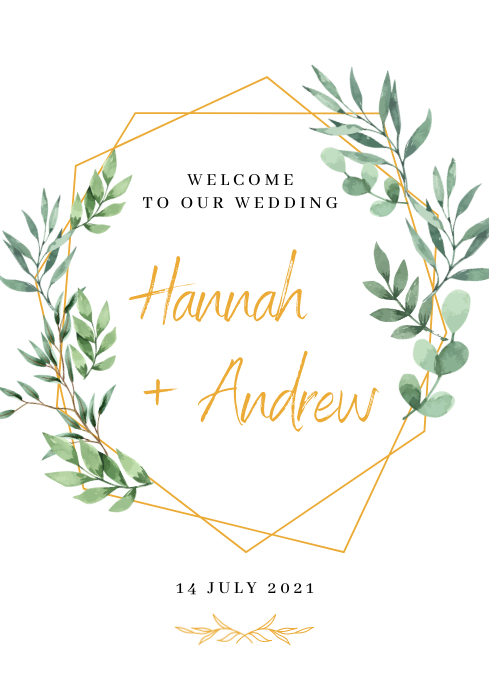 Wedding welcome sign A1 template