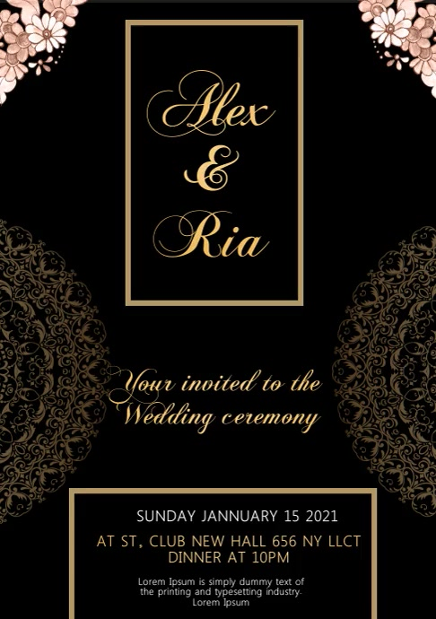 weeding Invitation video A4 template