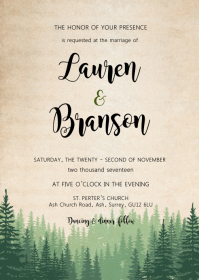 Weekend in the wood wedding invitation