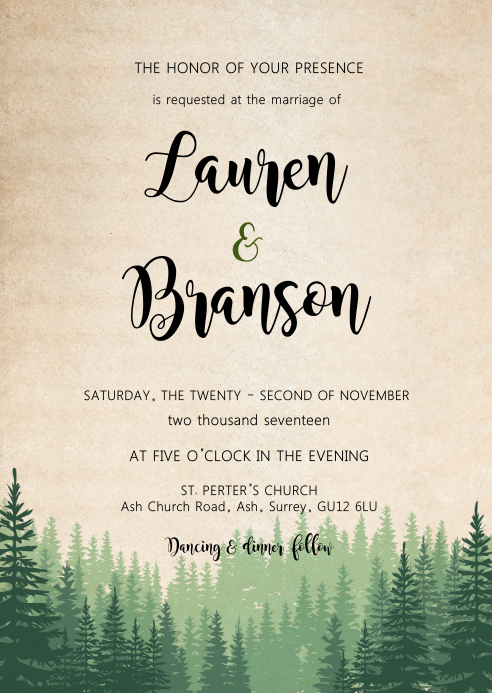 Weekend in the wood wedding invitation A6 template