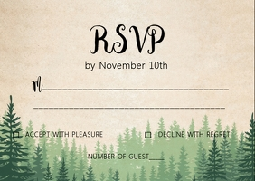 Weekend in the wood wedding RSVP card