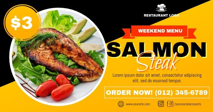 Weekend Menu Salmon Steak Ad Template delt Facebook-billede