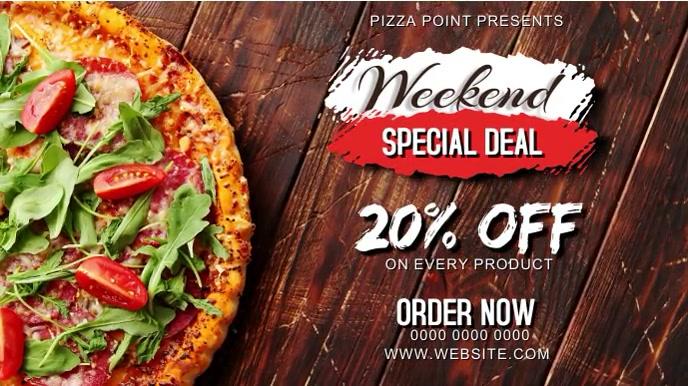 Weekend Special Pizza Discount Digital Displa งานแสดงผลงานแบบดิจิทัล (16:9) template