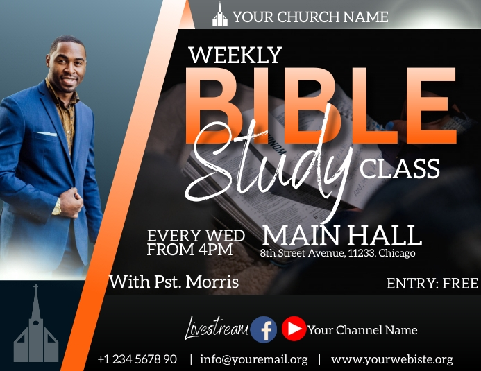 weekly bible study flyer Pamflet (Letter AS) template