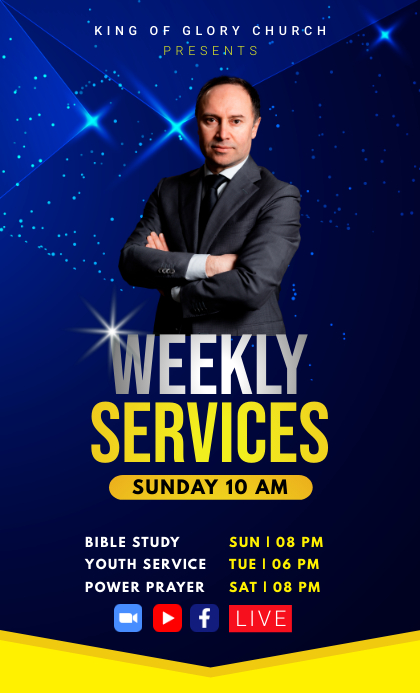 Weekly Church Services Flyer Template формат US Legal (Стандарт США)