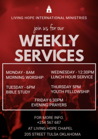 Weekly church services Poster A3 template