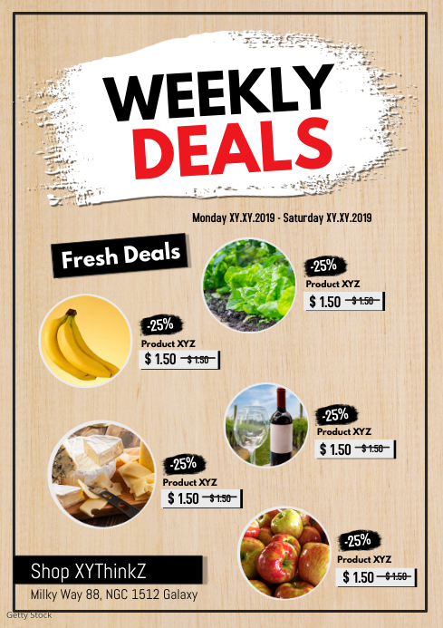 Weekly Deals Product flyer Poster Discount Sale Retail Food
