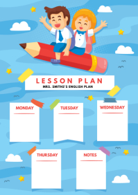 Weekly Lesson Plan for Kindergarten A4 template