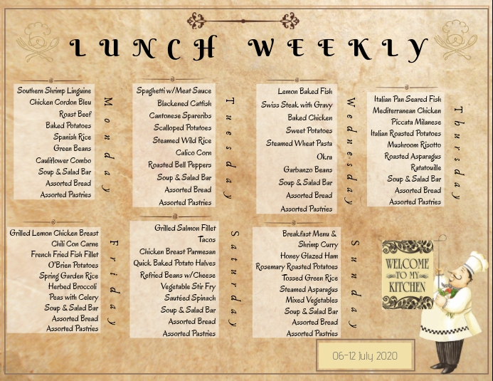 Weekly Menu 传单(美国信函) template