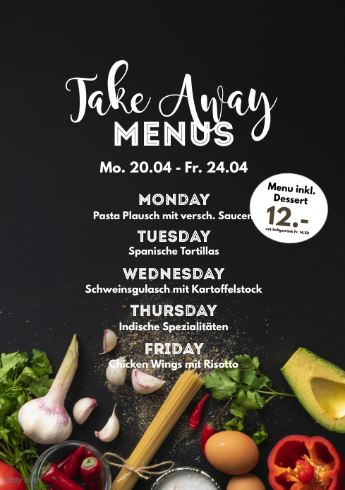 Weekly Menu Plan Poster Flyer Restaurant Ad A4 template